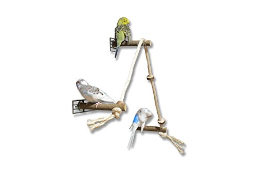 Aufregendes Sitzseil bzw. Kletterseil mit 3 leckeren, verschiebbaren Naturholz Sitzstangen für Wellensittich, Nymphensittich & Co. für Vogelkäfig