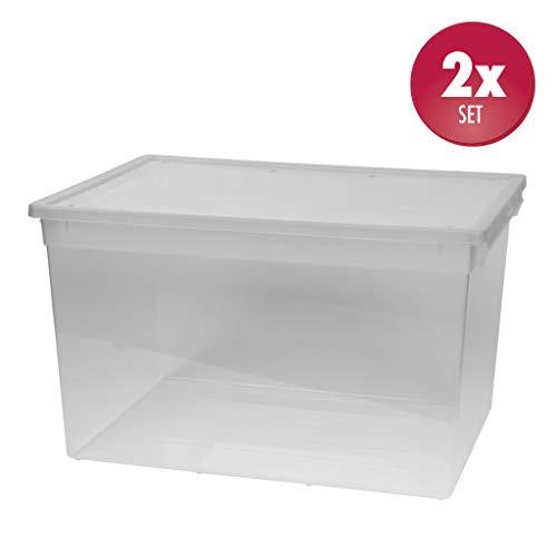 Kreher 2 Stück XXL Aufbewahrungsbox mit Deckel aus transparentem Kunststoff und XXL Stauvolumen! pro Box ca. 50 Liter, Maße: 37,6 x 52 x 31 cm