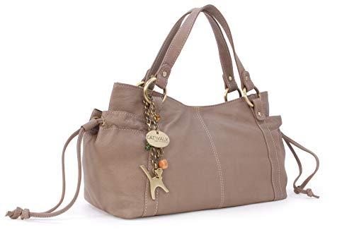 Catwalk Collection Handbags - Vera Pelle - Borsa a Spalla/Borse a Mano - Con Ciondolo a Forma di Gatto - Mia - GRIGIO