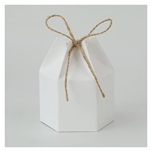 MAUAP 10 unids Kraft Papel Papel Caja de cartón Linterna Candy Box Favor y Regalos Boda Navidad Suministros de Fiesta de San Valentín (Color : White)