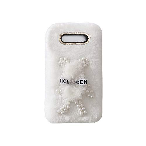 YHY Funda Teléfono Pearl Bear Plush para Samsung Galaxy J3 2017 EU Carcasa De Felpa De Silicona Suave y Elegante La Piel Blanco