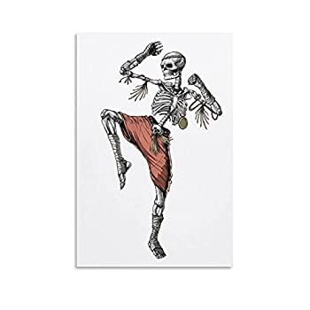 Muay Thai Skeleton Fighter Poster Decorative Painting Canvas Wall Art Living Room Posters Bedroom Painting 12×18inch 30×45cm