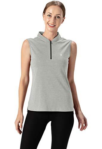 YSENTO Polo de golf para mujer, sin mangas, ligero, transpirable, UPF 50+, camiseta de tenis con cremallera 1/4 gris XS
