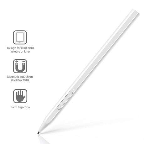 Stylus Pen for iPad, Active Pencil 2 with Palm Rejection Magnetic Rechargeable Design Compatible for Apple iPad 6th 7th Gen/iPad Pro 3rd Gen/iPad Air 3rd Gen/iPad Pro 2020 & 2018 11/12.9 Inch (White)