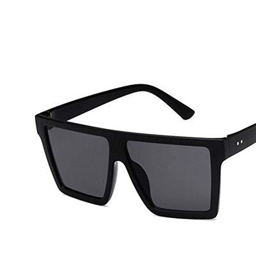NZHK Gafas de Sol de Gran tamaño Cuadrados Hombres Mujeres for el Controlador de Gafas de Lente Flat Top Moda Gafas de Sol for Mujeres Sombras Espejo Gafas de Sol polarizadas (Color : Black)