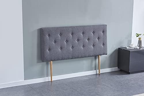 Tête de lit Deco, capitonnée Tissu Gris, L'épaisseur Totale de 8 cm (160 x 100 cm)