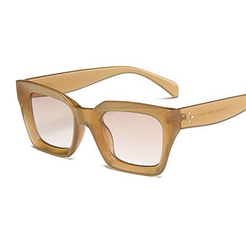 AOQW Fashion Women Square Gafas De Sol Señoras Vintage Gafas De Sol De Gran Tamaño Hembra Uv400 Sombras Negro-Champán