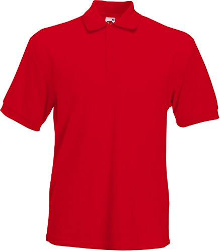 (Large, Red) - Fruit of the Loom Pique Polo Shirt