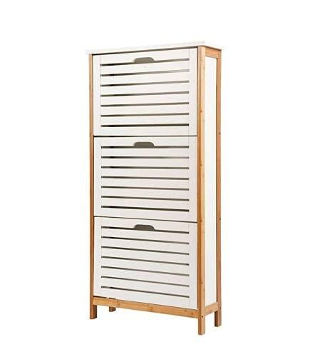 888 Lxy - Zapatero de bambú con 3 estantes