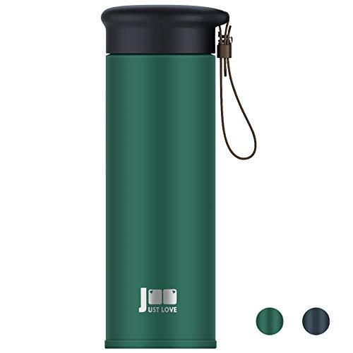 Trinkflasche Edelstahl 450ml mit Tee/Früchte-Sieb Thermobecher BPA-Frei Travel Mug Vakuum Isolierte Auslaufsichere Isolierflasche für Reise, Büro, Kinder, Fitness, Yoga, Im Freien, Camping