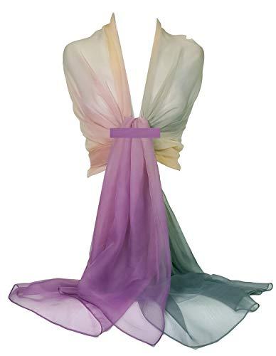 GFM - Bufanda de tela de seda sintética de dos tonos para verano, noche, boda, damas de honor, cóctel, baile, fiesta, vestido de playa. Morado Ttchf-trjmnbh- Morado 90