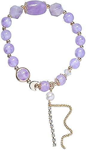 HYJMJJ Feng Shui Pulsera Natural púrpura Jade Cristal Perla Luna Brazalete Buena Suerte melocotón Flor Rico Amuleto Pulsera para Las Mujeres, 15~16 cm (Tamaño: 15~16 cm) Puede traer