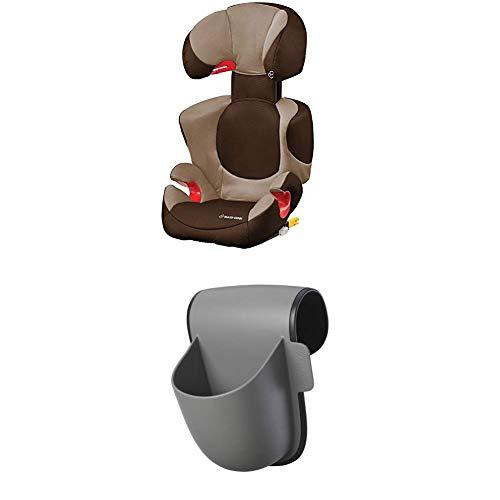 Maxi-Cosi Rodi XP Fix Kindersitz, mitwachsender Gruppe 2/3 Autositz (15-36 kg), mit ISOFIX, nutzbar ab 3,5 bis 12 Jahre, Hazelnut Brown + Maxi-Cosi Pocket Becherhalter, grau
