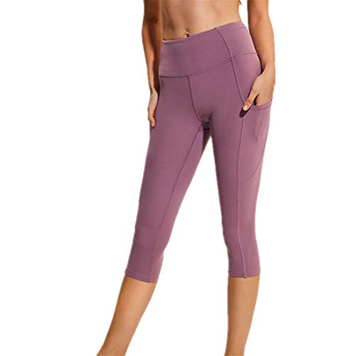 WY1688 Ladies Sport Leggings Women Yoga Pants Sports Pants Solid Color Leggings High Stretch Yoga Pants New 2020 Sweat-Absorbing Breathable Material Comfortable Leggings B-Pink L
