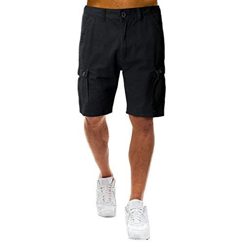 YiLianDaD Hombres Cortos Pantalones de Carga Multi-Bolsillo Bermuda Cortos Laboral Pantalones Deporte Cargo Shorts Casual Clásico
