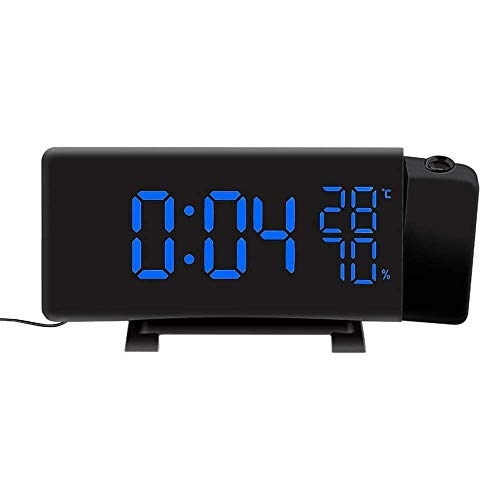 FEEE-ZC Hygrometer Monitor Indoor Thermometer Hygrometer Digital Clock 3 Color Projection LED Switch Display Time Clock Temperature Humidity FM Radio Tester Gauge for Home