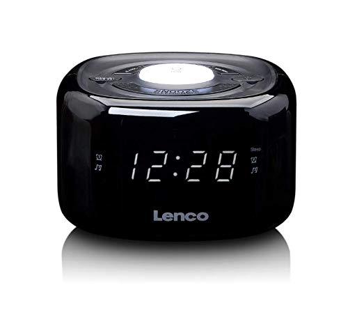 Lenco CR-12 Uhrenradio - Wecker mit Nachtlicht-Funktion - Easy Snooze - Sleep-Timer - Dual Alarm - 20 Senderspeicher - Anpassbare Helligkeitsregulierung - schwarz