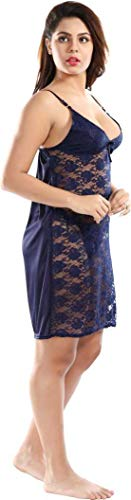 Bombshell Women's Solid Satin Net Nighty with Robe, Pack of 2, (Color:-Navi Blue, Size:-Free Size)