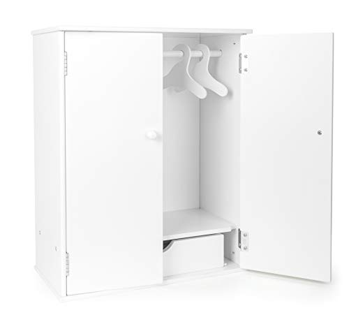 Small Foot 11213 Puppenschrank in modernem, weißen Design, fördert den Ordnungssinn, mit Kleiderstange, Schublade und Kleiderbügel, schöne Ergänzung zum Puppen-Zubehör Spielzeug