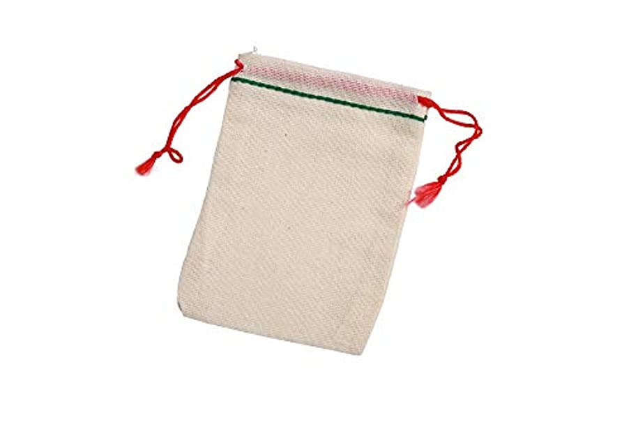 2.75x4 Inch Green Hem Red Double Drawstring Cotton Muslin Bags 50 Count Pack