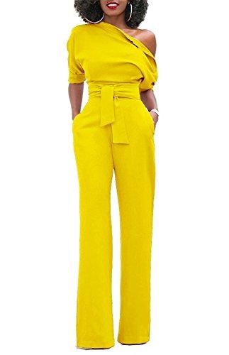 Minetom Femmes Chic Manches Courtes Une Épaule Combinaisons Solides Large Jambe Longue Pantalon Barboteuse avec Ceinture Jaune FR 38