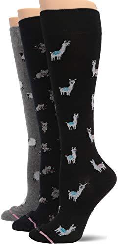 Dr Motion Women#039s 3Pack Llamas Koalas Sheep Compression Socks black/sailor/DarkDenim Heather One Size