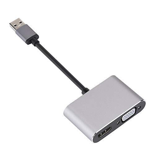 PUSOKEI Convertidor de Adaptador VGA + HDMI, convertidor de Audio y Video Compuesto Mini RCA 1080P, Plug and Play, Adecuado para Windows 10 / Windows 8.1 / Windows 8 / Windows 7
