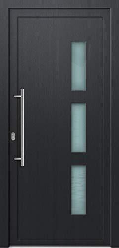 Wei/ß, PVC, Glaseinsatz, Dr/ückergarnitur, 88 cm, DIN Links, innen /öffnend x190 B Kunststoff Nebeneingangst/ürANTONIA 60mm H