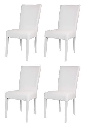 t m c s Tommychairs - Set 4 sillas Martina para Cocina, Comedor, Bar y Restaurante, solida Estructura en Madera de Haya y Asiento tapizado en Polipiel Blanco