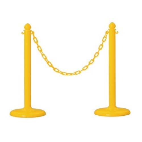 Plastic Stanchion in Yellow 2 Pcs + 16' Chain, w/C-Hook