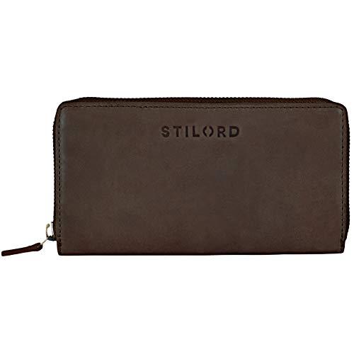 STILORD \'Mila\' Klassisches Portemonnaie Damen Geldbörse groß mit Reißverschluss EC-Karten Fächer Quer Leder, Farbe:matt - Dunkelbraun