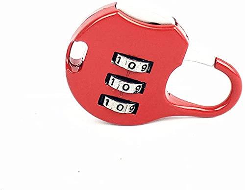 Mi-ni candado de aleación de zinc, maleta de seguridad para equipaje, cerradura de combinación, combinación de 3 dígitos, reiniciable, equipaje de viaje, maleta, bloqueo de código (Color : Red)