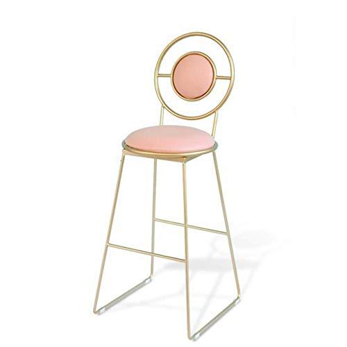 NUBAOgykongtiao Silla de comedor Iron Art Taburete de bar - Con respaldo silla de silla alta, sillón, taburete de cuero con cojín, silla de mesa/dorado y rosa / taburete de 30 '' de altura