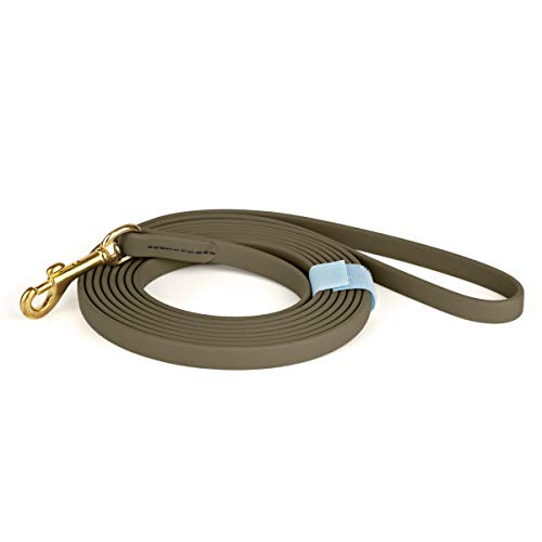 Viper K9 Biothane Working Dog Leash Waterproof Lead For Tracking Training Schutzhund Dog Sport & Search - Odor-Proof Long Line With Solid Brass Snap For Puppy Medium and Large 1/2' x 15ft Coyote Brown