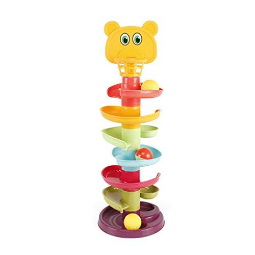 Tomaibaby 1 - Juego de juguetes de caza de bola para bebé o niño a la edad de la torre de aprendizaje Drop and Go Rampa juguetes con 3 pelotas de bebé, centro de actividad, juguetes educativos