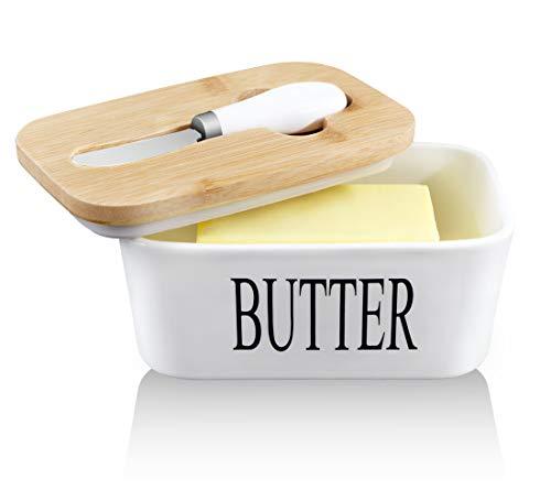 Panda Grip Butterdose Porzellan weiß, Butterdose Porzellan Butter mit Messer Und Holzdeckel,Butterdose Keramik für 250 g Butter,für Haushalt und Küche Hochwertig Butterdose Porzellan