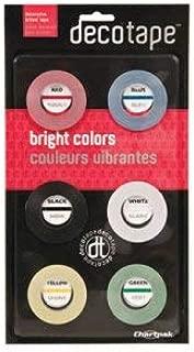 Chartpak/Pickett Deco Bright Decorative Tape, 1/8 Inch x 324 Inch, Red/Black/Blue/Green/Yellow - 6/Box (1 Box)