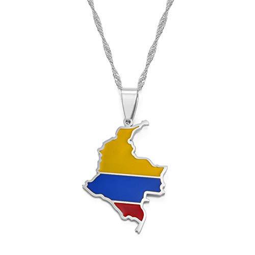 Mapa Colombiano Bandera Colgante Collar para Mujeres Niñas Color Plata Joyería Colombia Mapa De Cadenas Colombia