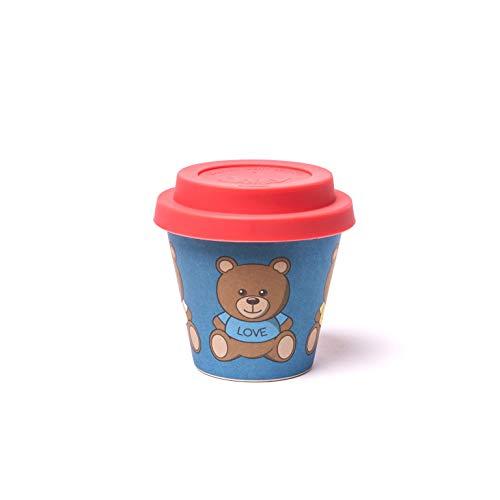 QUY CUP Tazza Espresso in bambù. 90ml. Teddy. Design Italiano Esclusivo. Realizzate con Fibre Naturali. Sostenibile. Senza BPA. Tazza Portatili e riutilizzabili. Bio-Based Material. Coperchio incl.