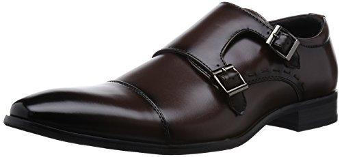 MM/ONE Mens Monkstrap Monk Strap shoes oxford shoes dress shoes men comfort Water repellent Straight Chip Shoes black brown shoes , Dark Brown , 42 EU (US Men's 9-9.5 M)