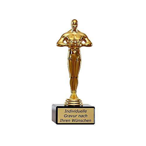 Pokale Fischer Siegerfigur Viktor klein auf Marmorsockel mit Gravur - Geschenk individuell personalisiert für Frauen und Männer – Goldene Trophäe 17,5 cm hoch