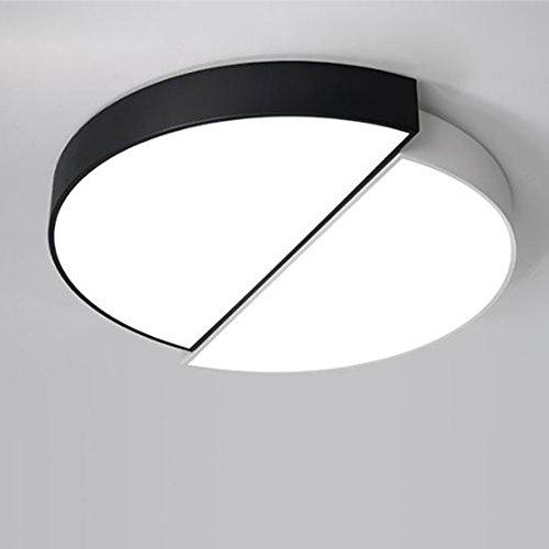 GPZ-iluminación de techo Luz de techo redonda blanca negra de la aleación de acrílico moderna del LED, luz de techo. Luz de techo de LED. Living Lamp Lounge Habitación [Clase energética A ++]