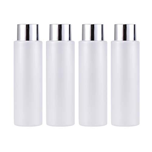 FRCOLOR 4 Unidades de Botellas Vacías de 200Ml con Tapa Envases de Botellas de Viaje Transparentes Botellas de Loción Apretadas para Artículos de Tocador Champú Gel de Ducha Cosméticos
