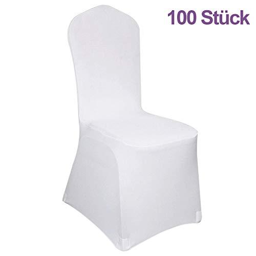 Hengda Universell Stuhlhussen,100 Stück Weiß Stuhlbezug Moderne Stuhl Abdeckung Stuhlüberzug für Hochzeiten und Feiern
