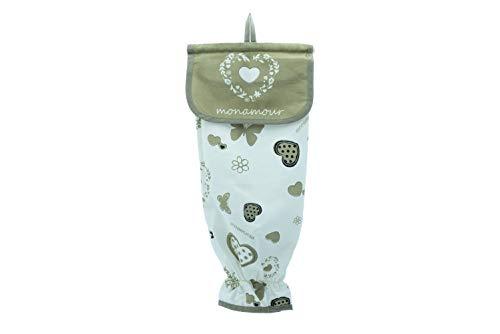 Porta Sacchetti Cucina 100% Cotone, Porta Buste di Plastica con Gancio a Sostegno Rigido e Anello Elasticizzato Anticaduta Sacchetti (Bianco Shabby)
