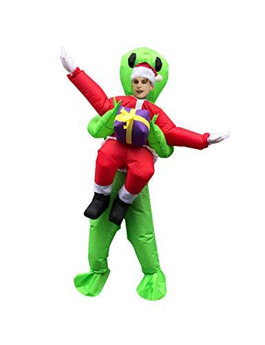 Leezeshaw Uppblåsbar grön utomjording rolig fin utklädnad, uppblåsbar utomjording jultomten spränga fest halloween cosplay kostym