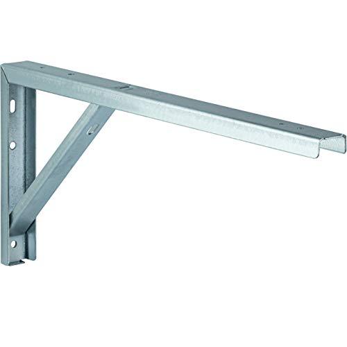 Gedotec Regal-Konsole silber Regalträger Metall Regalwinkel für die Tisch & Wand-Montage | Regalhalter Stahl schwarz beschichtet | 300 x 30 x 180 mm | 1 Stück - Winkel-Konsole zum Schrauben