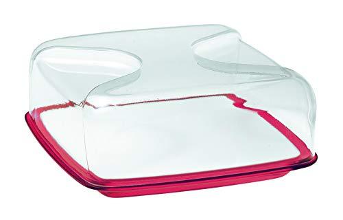 Guzzini Copriformaggio Quadrato Gocce, Rosso Chiaro, 25.5 x 25.5 x h11.5 cm