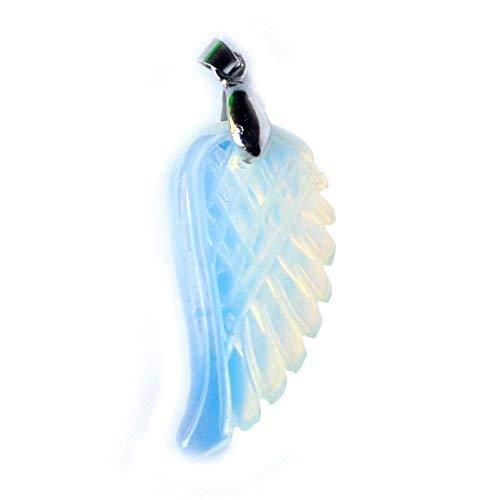 Aituo 1pc Natural Cristal Reiki ala Pila de Piedras Preciosas Healing Chakra Colgante pendulo para el Collar DIY Joyería de fabricación (Ópalo)