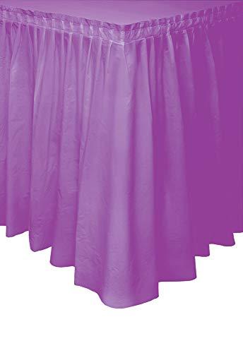 Unique Party- Falda de mesa de plástico, Color morado, 420 cm (50066)